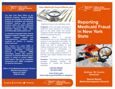 Reporting Medicaid Fraud in New York State brochure image