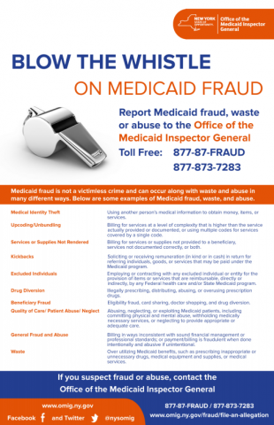 Blow the Whistle on Medicaid Fraud brochure image